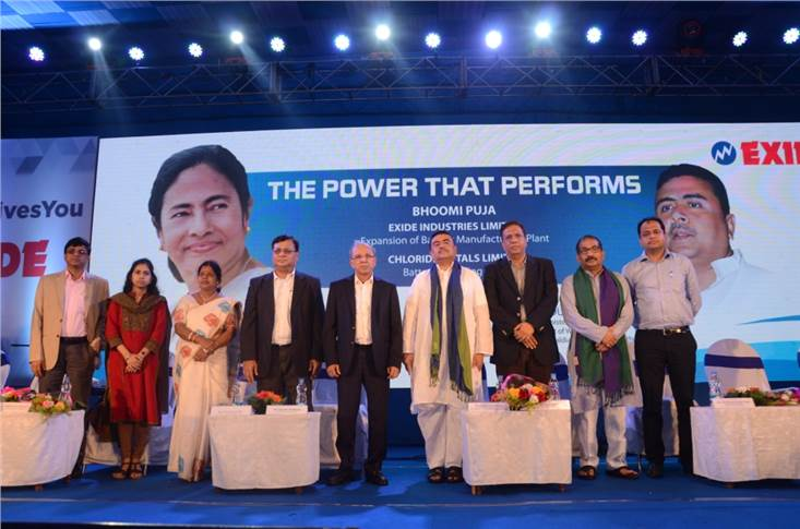 West Bengal's minister for transport and environment and chairman of Haldia Development Authority, Suvendu Adhikari along with Gautam Chatterjee, MD and CEO of Exide Industries and other delegates.