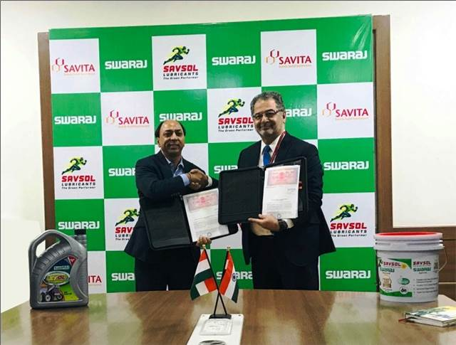 L-R: Hemant Sikka president and chief purchase officer, Powerol and Spares Business, Mahindra & Mahindra with Sunil Aima, CEO - Lubricants, Savita Oil Technologies at the agreement signing.