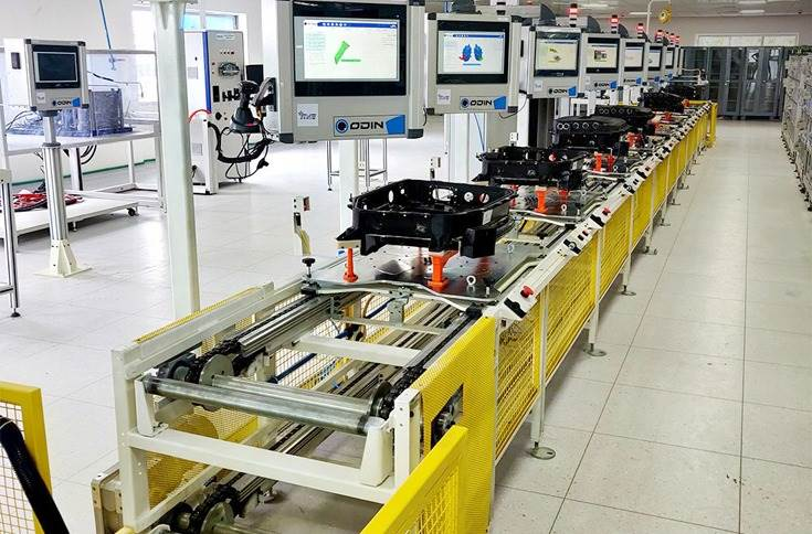 The Mahindra Electric power electronics line at the Bangalore plant.