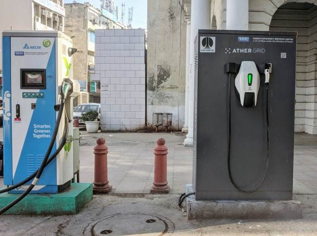 Ather Grid has been installed alongside another EESL fast-charger procured from Delta Electronics.