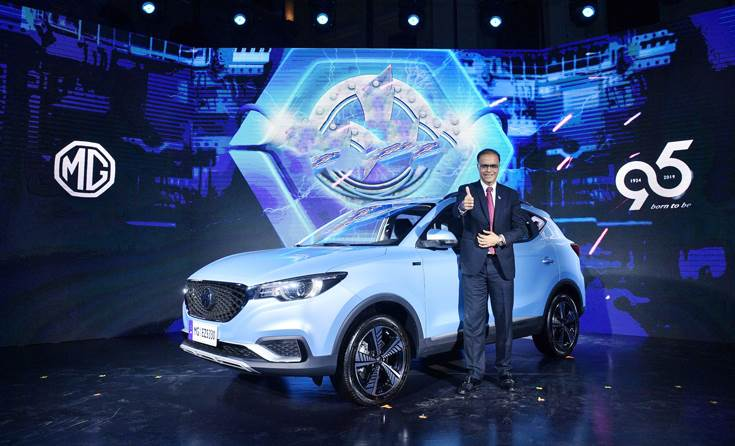Rajeev Chaba, managing director of MG Motor India with the MG EZS at its global debut on April 10, 2019 in London.