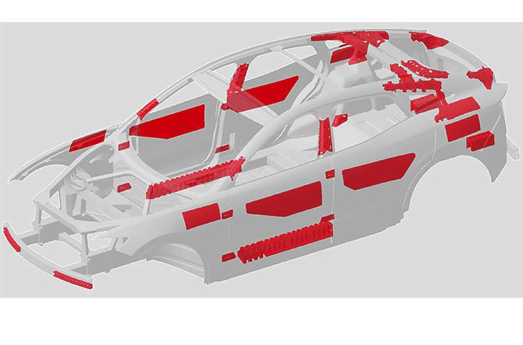 Pilot engineering project on an e-SUV concept demonstrates perfect integration of both solutions: Materials and Engineering. The project saw use of structural hybrid solutions, structural adhesives and panel reinforcements and reduced BIW and closure weight by 42kg (from 431kg to 389kg), achieved crash performance targets, and reduced joining elements by 6 percent.