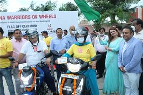 L-R: Dr. Veena Singh, DG – Health Services, Haryana and Bharatendu Kabi - head, CSR and Corp Comm, Hero MotoCorp at the flag off as part of Project 'Corona Warriors on Wheels