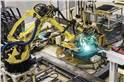 The assembly of the body via spot welding is done entirely by robots.