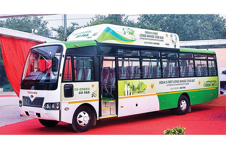 In December 2019, Hexagon Agility showcased a 1,000km-plus range CNG bus. Five such buses are being tested in partnership with Mahindra & Mahindra and Indraprastha Gas.
