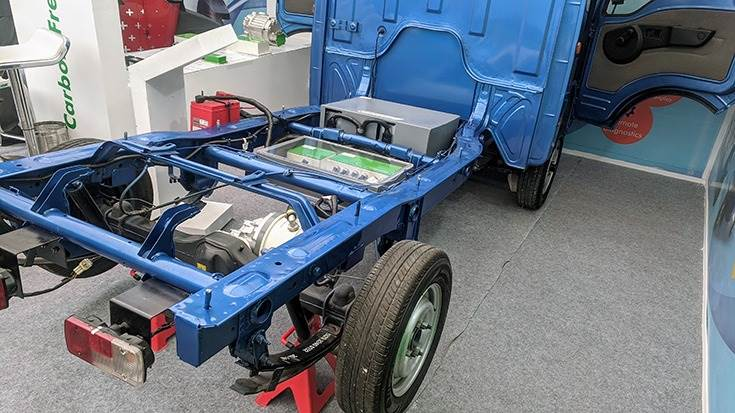 A 17kW electric drivetrain mounted on a Tata Ace chassis. Powerful LCV can carry payloads up to 1.2 tonnes.
