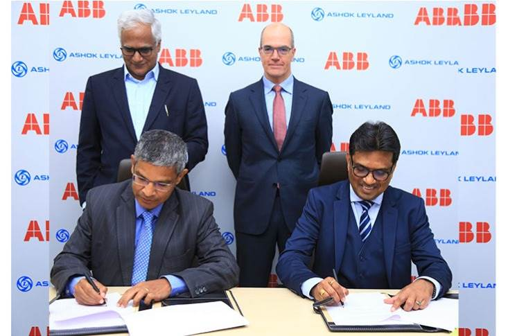 Dr N Saravanan, President & CTO, Ashok Leyland and N Venu, MD, ABB Power Products and Systems India sign the MoU in the presence of Karthick Athmanathan, Head EV & E-mobility, Ashok Leyland and Claudio Facchin, President – Power Grids business, ABB