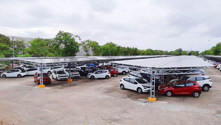 Spanning over 30,000 square metres, the carport will generate green power and also provide covered parking for finished cars at the Pune plant.