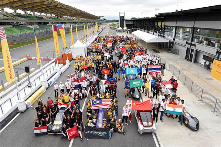 Some of the participating teams during day two of Shell Make the Future Live Malaysia 2019 at the Sepang International Circuit, Malaysia.