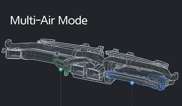 'Multi-Air Mode' uses multiple vents for air conditioning and heating to create a more pleasant indoor environment with gentle wind.