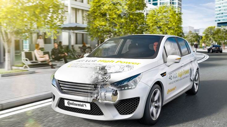 Continental Powertrain engineers have developed a full-hybrid vehicle with 48-Volt high-power technology.