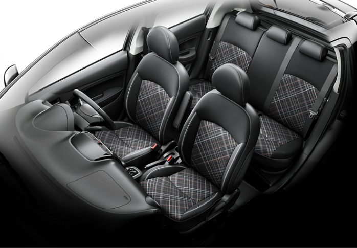 Upper-trim levels of the facelifted Mirage are offered with a special seat design, upholstered in a sporty-look fabric/synthetic leather combination.