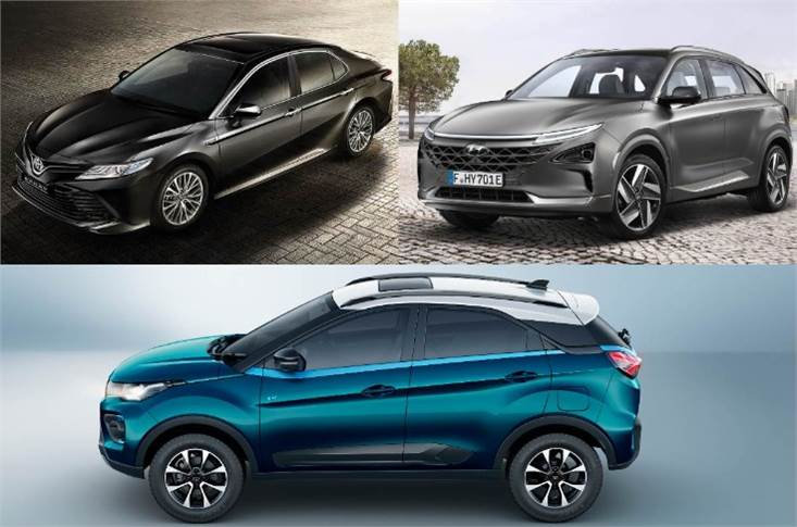 Clockwise, from top left: Toyota Camry Hybrid, Hyundai Nexo fuel cell EV and Tata Nexon EV.