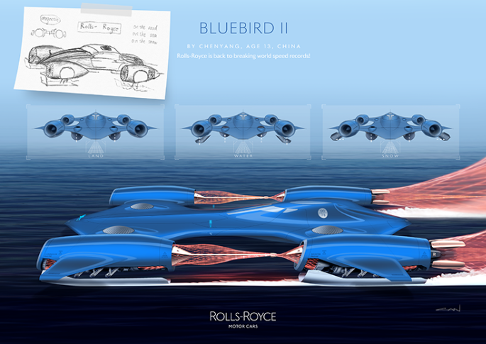 Rolls-Royce Bluebird II by Chenyang, age 13, China.