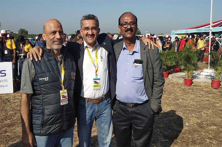 L-R: Endurance's Ravi Kharul, Anand Group's Umesh Shah and NATRiP's Dr N Karuppaiah at the  2020 Mahindra Baja SAE India in Pithampur
