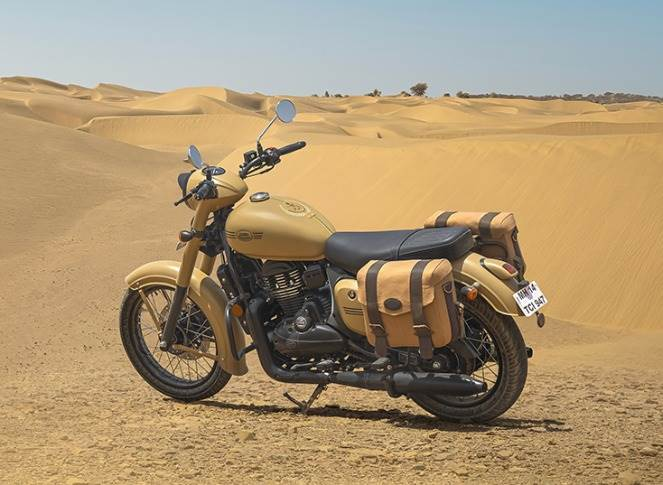 """Jawa Motorcycles says the Jawa Khakhi """"signifies the spirit of selfless service to the nation by the men in uniform""""."""