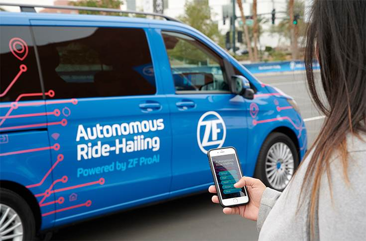 Call the taxi using an app on the smartphone