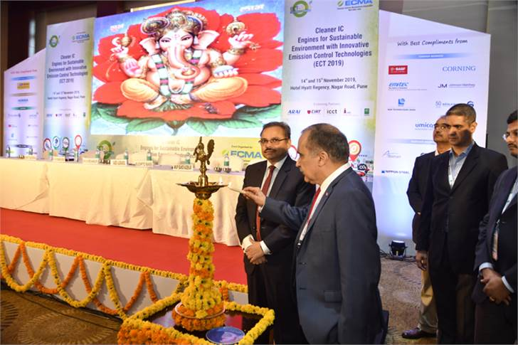 Chief guest Dr SSV Ramakumar, director (R&D), Indian Oil Corporation lights the traditional lamp to inaugurate ECT 2019 in Pune. To his left is ECMA Saeed Alerasool, vice-president, BASF Corp.