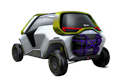 Tracy (length 3740 mm – width 2205 mm – wheelbase 2890 mm – height 2083 mm) is a solid, compact vehicle with four-wheel drive.
