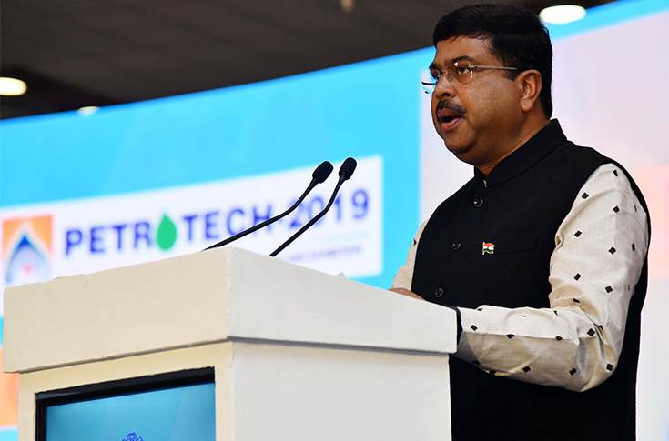 The Union Minister for Petroleum & Natural Gas and Skill Development & Entrepreneurship, Dharmendra Pradhan at Petrotech 2019 being held at Greater Noida