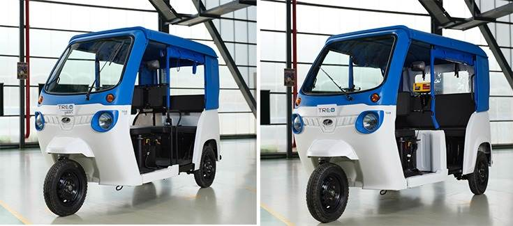 In June 2019, Mahindra Electric launched the electric Treo Yaari semi-hard-top three-wheeler (left) for Rs 177,000 and the Treo semi-hard-top at Rs 279,000 (ex-showroom Delhi).