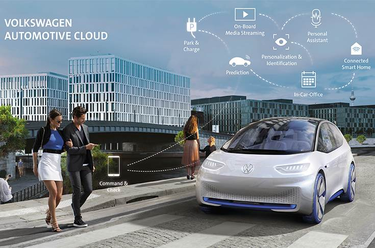 The Volkswagen Automotive Cloud will link the fully connected vehicle, the cloud-based platform and digital value-added services. The vehicle shown is a study.