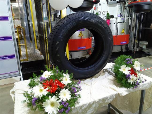 Tyre No. 1 rolled out from the Andhra Pradesh plant today. By 2022, it will have a capacity of 15,000 car tyres and 3,000 truck-bus radials each day.