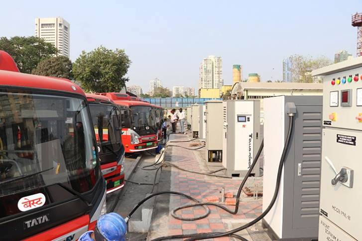 A fleet of Tata Motors electric buses, used by BEST in Mumbai, get the 240kWH charging treatment at a Tata Power station in Backbay Depot.