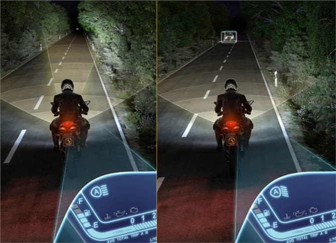 Optimal vision is essential at night, when the risk of an accident is twice as great as the risk while riding during the day. The Intelligent Headlight Assist enables better vision at night.