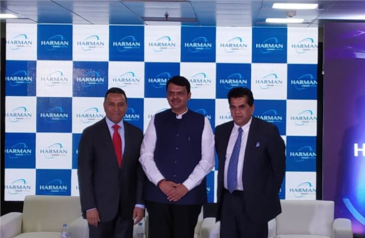 L-R: Dinesh C Paliwal, president and CEO, Harman India; Devendra Fadnavis, chief minister of Maharashtra and Amitabh Kant, CEO, NITI Aayog.