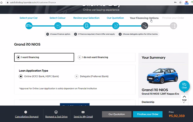 Hyundai has partnered with ICICI and HDFC Bank for loan application directly from its car retail website.