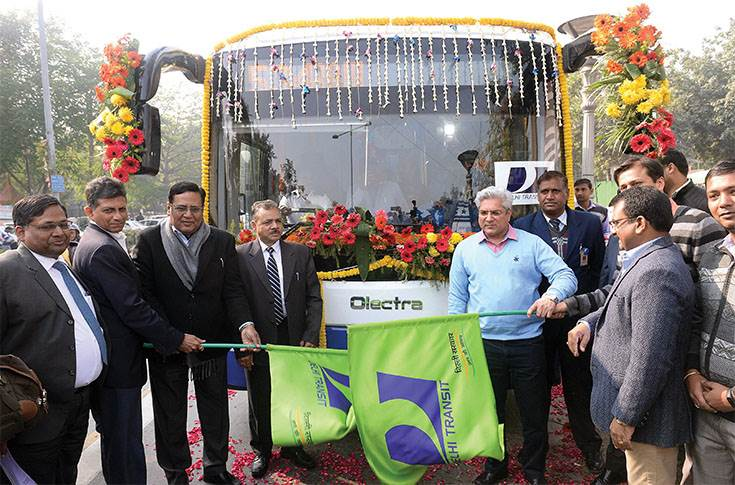 Gahlot flagging off an electric bus. The national capital is set to get 1,000 electric buses with subsidy support from the Centre.