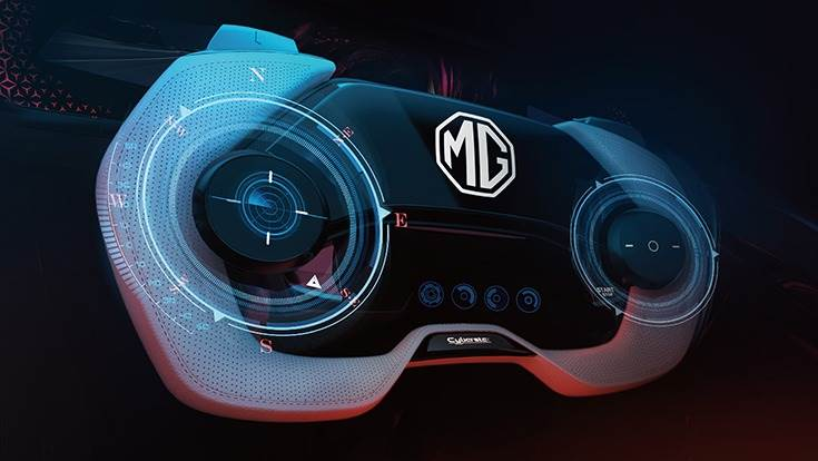 Unique gamepad steering wheel uses black-and-white effect while the four-dimensional button on the thumb amplifies the virtual gaming cockpit experience