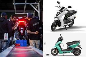 Clockwise from left: An Ather 450 at the assembly line; Ather 450, launched in 2018, has helped shape the 450X, its quicker and smarter sibling.