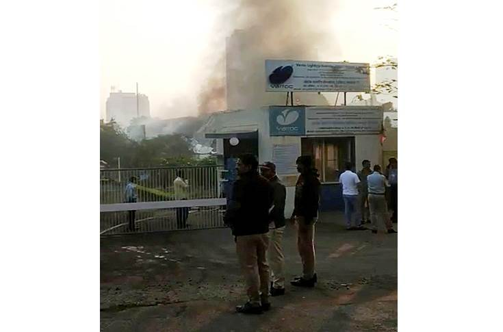 The fire, which erupted at 3.15am today at the Hinjewadi, Pune plant which  manufactures lighting products for four-wheelers, was brought under control  by 5.45am. (Pic from social media)