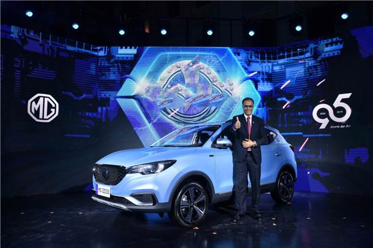 Rajeev Chaba, MD, MG Motor India with the MG eZS at its global debut.