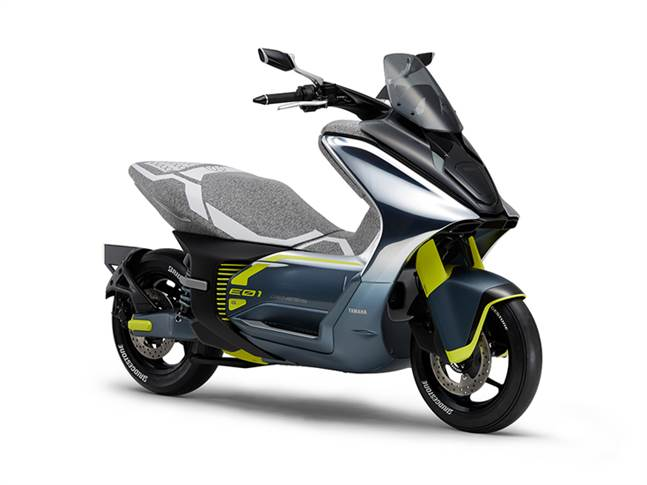 """Sporty looking E01 electric urban commuter model has power output comparable to a 125cc scooter engine, is fast-charge compatible and, according to Yamaha, """"provides plenty of range and comfort."""""""