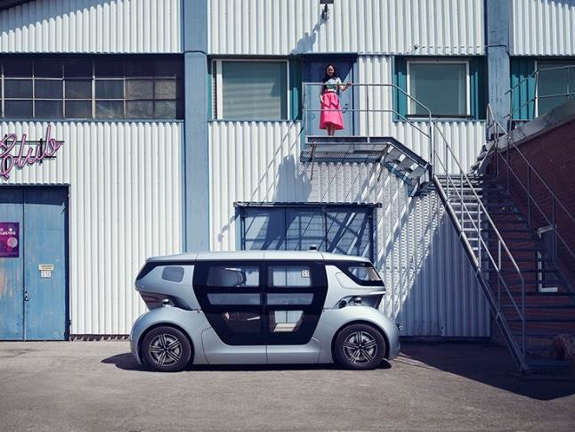 Similar in length to a VW Golf but wider, the Sango has four in-wheel electric motors and four-wheel steering that promise an efficient and manoeuvrable package with six seats that can be configured for different uses.