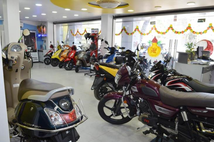 A TVS Motor showroom decked up for the festive season.