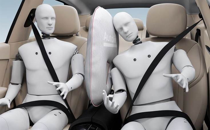 Inboard seat-mounted airbag deploys in the space between driver and front-seat passenger, providing protection from colliding during a side impact and reduces risk of trauma to head, shoulder & chest.