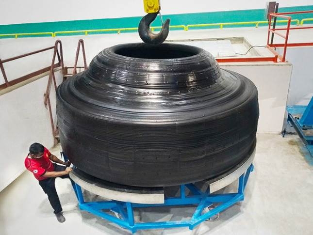 Special machinery had to be installed at BKT's Bhuj, Gujarat plant to produce this enormous tyre.