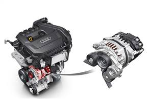 The BISG is integrated into the drivetrain with a belt-drive, similar to an alternator, enabling it to transmit torque to the engine's crankshaft when it's operating as a hybrid drive motor.