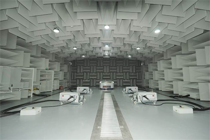 Engine and vehicle level acoustic testing in a semi-anechoic room.