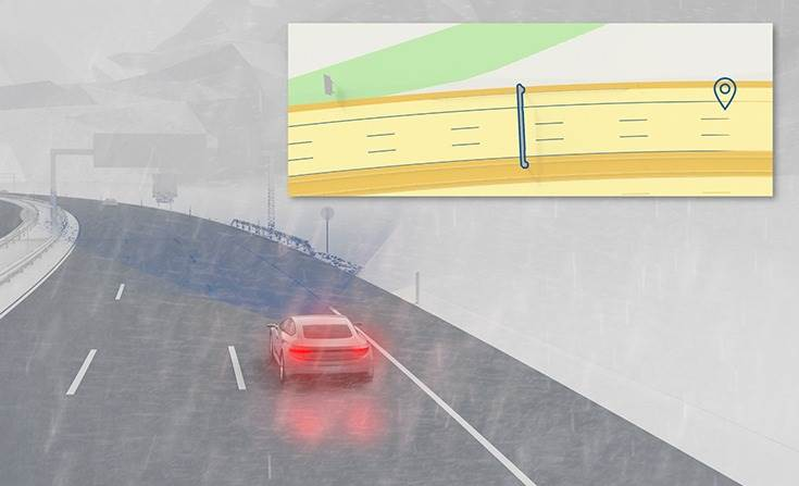 To determine its position in real time, each vehicle compares the info provided by its surround sensors with that of its digital twin. This enables the cars to accurately determine their position in the lane down to a few decimetres relative to the highly accurate map.