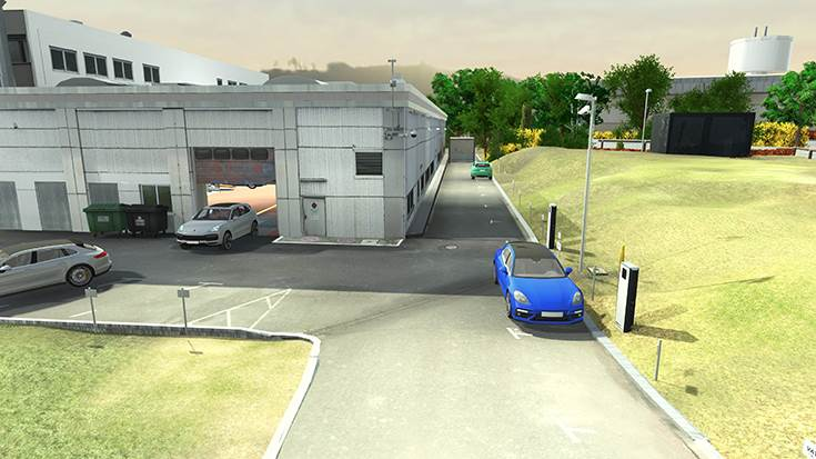 The test site including workshop environment has been created as a virtual representation.