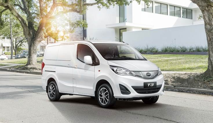 The T3 pure electric commercial logistics minivan. BYD claims by using its cutting-edge EV tech, a single T3 MPV or T3 minivan can save the fuel consumption and emissions equivalent to 5 passenger car
