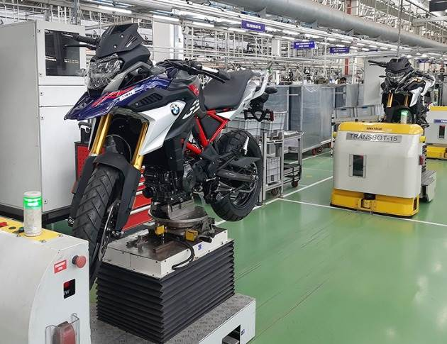 The new BMW 310 GS as it rolls out in Hosur from the assembly line of TVS Motor Co, BMW Motorrad cooperation partner.