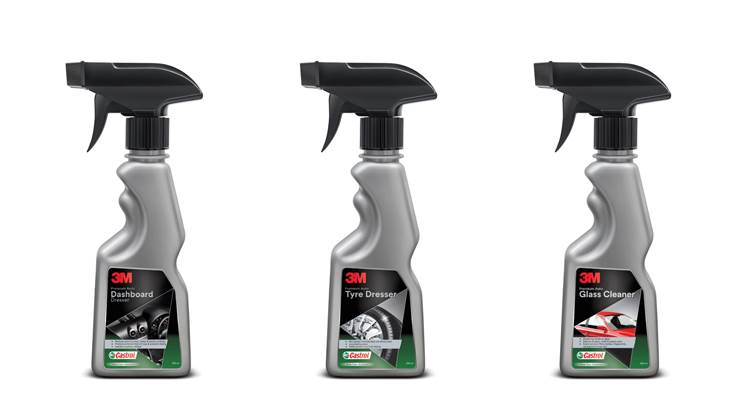 An expansive range of 3M-Castrol-branded bike and car care products including shampoo, glass cleaner, cream wax, dashboard and tyre dressers will soon be available across India.