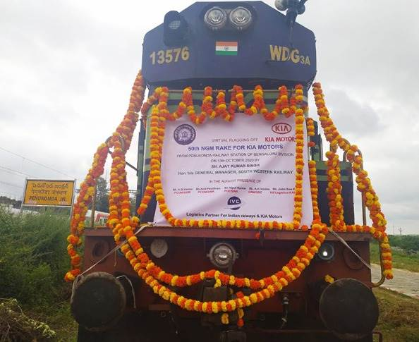 The 50th New Modified Goods rake despatched from Penokonda Junction, 12km from Kia Motors India