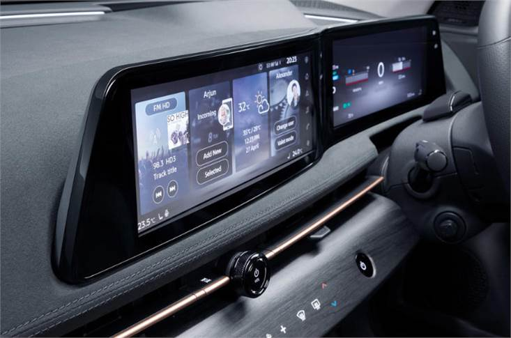 Central touchscreen and digital driver display are each 12.3in